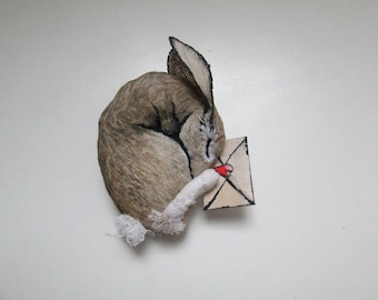 personalized brooch rabbit lovers hare unique gift miniature textile art jewellery pin woodland love message fantasy handpainted embroidered