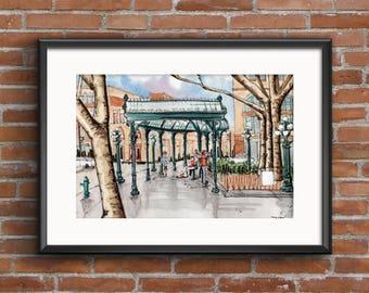 Seattle Pioneer Square, Seattle Watercolor, Seattle Urban Sketch, Pioneer Square Painting, Seattle Print, Seattle Washington, Art Print