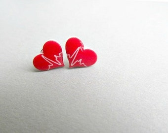 Heart Beat Stud Earrings, Nurse earrings, Nursing Student graduate Heartbeat earrings
