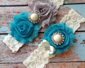 TURQUOISE  & GREY wedding garter set / bridal  garter/  lace garter / toss garter included /  wedding garter / vintage inspired lace garter
