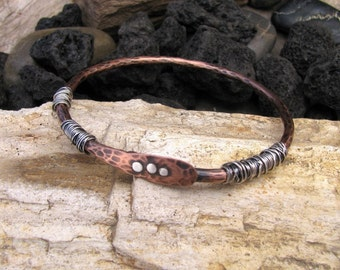 Copper and Sterling Silver Bangle Bracelet
