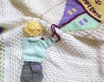 Unique Hand Crocheted Baby Blanket,  Baby Afghan, Lets Go Fly A Kite Design Special Baby Boy Newborn, Kid Toddler Gift White & Purple Wool