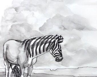 Quagga Extinct Animals Original Ink Drawing Inktober Prehistoric Wildlife Horse Artwork Original Artwork Unframed Artwork Black and White