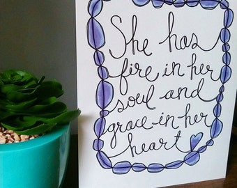 Fire and Grace Handlettered Art Print
