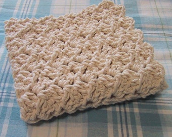 Perfect Dish Cloth - Crocheted in Cotton Yarn - Natural Ecru or White - Handmade - For Kitchen or Bath - Country Kitchen - Spring Cleaning