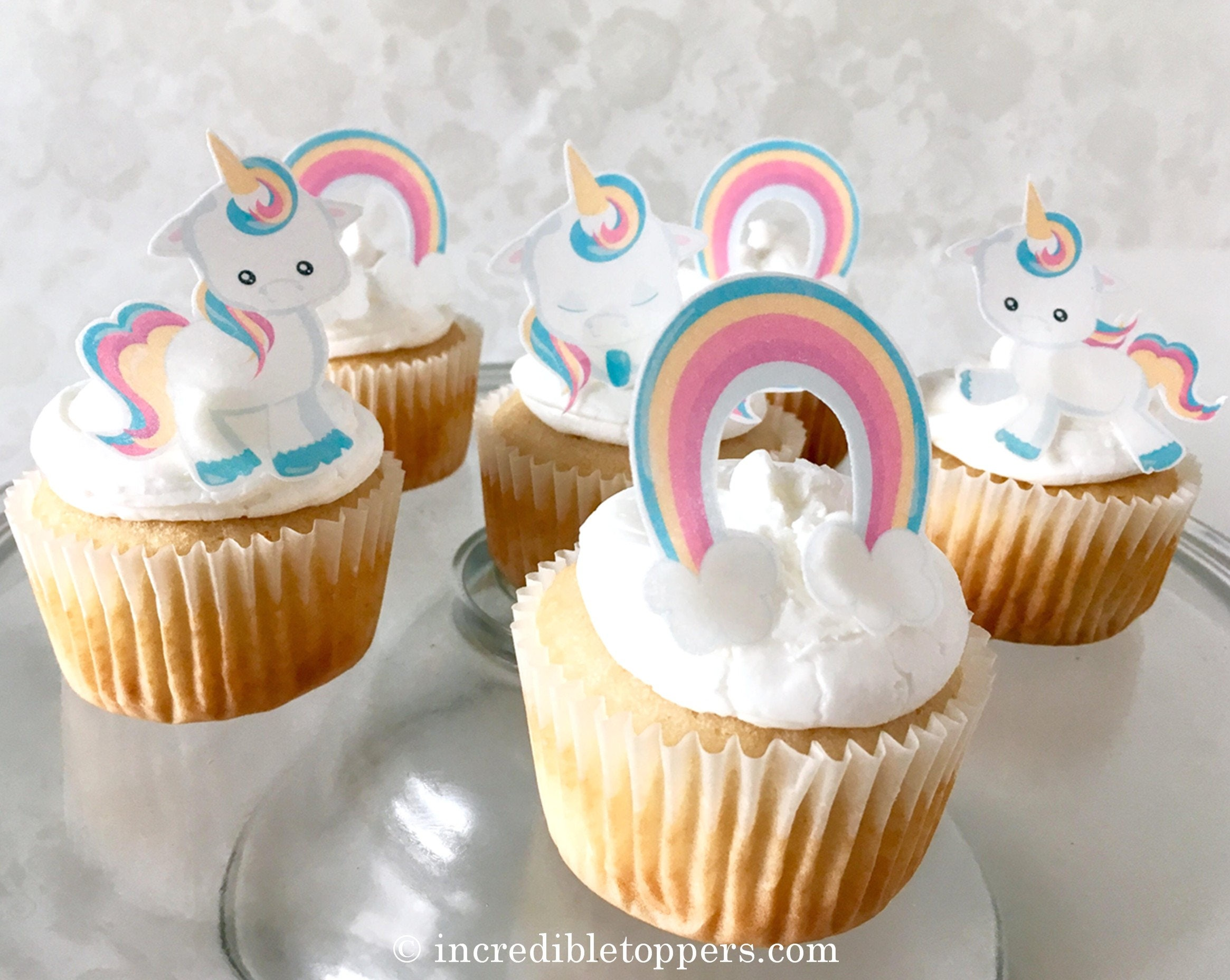 Baby Unicorn Birthday Cake Topper Edible Rainbows and Unicorn