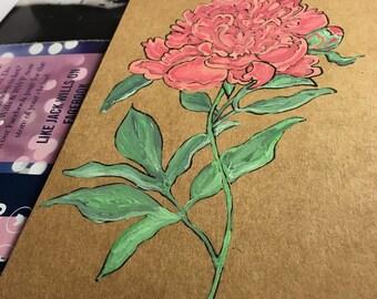 Original hand-painted Paeonia lactiflora plant