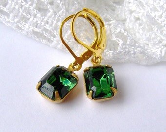 Emerald Rhinestone Leverback Earrings / May birthstone / vintage style / estate style / green rhinestone earrings / Swarovski / gift for her