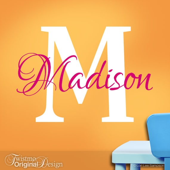 Girls Wall Name Decal Girls Monogram Vinyl Wall Decals - Monogram vinyl wall decals for boys