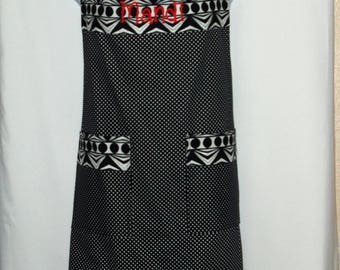 Plus Size Apron, Pretty Feminine, Black White Polka Dots, Custom Personalize With Name, No Shipping Fee, Ready To Ship TODAY, AGFT 679