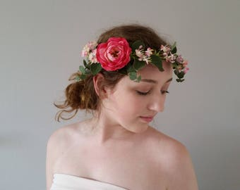 Flower crown Pink silk Floral crowns Bridal headband hairpiece Wedding hair accessories Flower girl hair garland Bridesmaids hair wreath