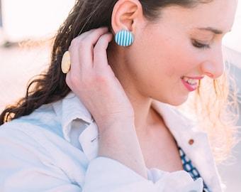Turquoise blue earrings - blue fabric earrings - striped stud earrings - mint button earrings - cyan post earrings summer bright white