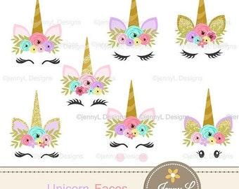 50% OFF Unicorn Faces Clipart, Pastel Unicorn, Flower Unicorn, Glitter Gold Unicorns for Scrapbooking, Invitation, Planners