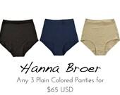 Any 3 PLAIN Panties Combo - Organic Underwear