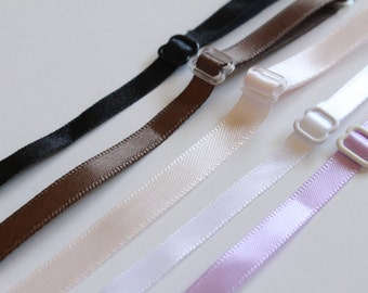 "5pairs 1/4"" & 5/16"" White|Lavender Purple|Brown Satin RIBBON Adjustable Sew In Spaghetti Lingerie BRA strap Straps Headband"