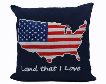 "Nautical Embroidered Pillow Cover - Patriotic -Usa Flag - Usa map - Fits 18""x18"" Insert - Navy - Office / Nursery Decor (READY TO SHIP)"