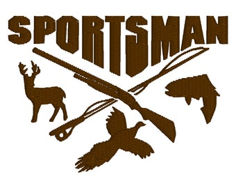 BUY 2, GET 1 FREE - Sportsman Deer, Duck, Fish, Hunting Season Machine Embroidery Design in 3 Sizes - 4x4 5x7, 6x10
