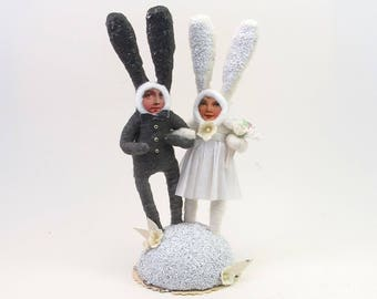 READY TO SHIP Vintage Inspired Spun Cotton Bunny Rabbit Wedding Cake Topper