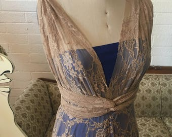 Vintage Lace Octopus Wrap Dress with short underskirt and seperate Bandeau~ Beige Lace, Triple Crown Cobalt Royal Blue