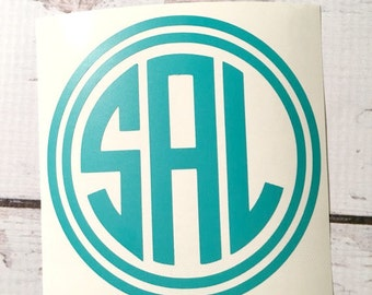 Vinyle Monogram Decal cercle police monogramme autocollant voiture Decal Notebook Decal personnalisé autocollant petit monogramme