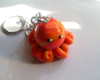 Octopus Mini Marble Friend Purse Charm Shown in Orange Yellow and Hot Pink Swirl Choose your Own Colors
