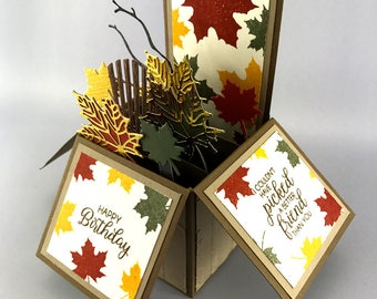 Fall Birthday Pop Up Card - Handmade Birthday Explosion Box - Happy Birthday Card - Birthday Card in a Box - Stampin' Up! Birthday Card