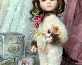 Teddy doll Kitty. OOAK Art collection doll, Interior doll, Handmade movable doll. Exclusive present. Gift for her. Mouse is included