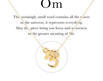 "Om Symbol Pendant Necklace Dainty 14k Gold Filled or Sterling Silver Chain 16"" - 18"" Adjustable Inner Peace Meaning Buddha Yogi Healing Thin"