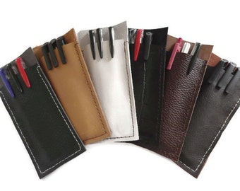 Pencil Case, Pen Pouch, Pocket Protector, Genuine Italian Leather, Hand Stitched