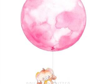 Balloon Nursery Art - Animal Nursery Prints - Rabbit Baby Art Print - Balloon Children's Art - Balloon Nursery Print