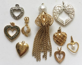 craft lot destash of assorted vintage metal heart pendants and tassel jewelry components for repurposing--mixed lot of 9 items