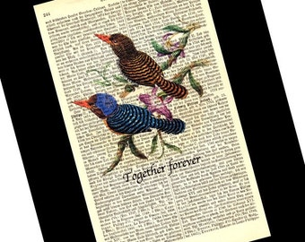Lovebirds Together Forever Wedding Engagement Anniversary Valentine Gift Vintage Art Print on Antique 1896 Dictionary Book Page