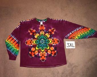 Tie Dye T-Shirt ~ Fire Mandala With Raspberry/Purple Background ~ i_6438 in Long Sleeve 3XL