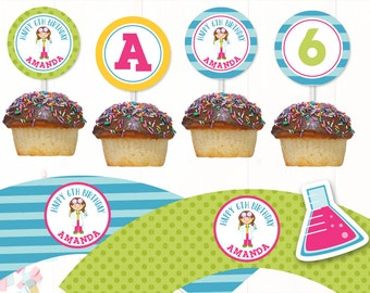 Personalized Girl Scientist Party Printable Cupcake Topper, Science Happy Birthday Cupcake Wrapper, Science Party, Personalized