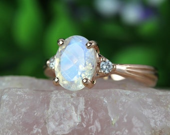 Rose Gold Moonstone Antique Engagement Ring, 18K Oval Moonstone Rose Gold Ring, Antique Style Ring, Engagement Ring, Antique Ring,  Vintage