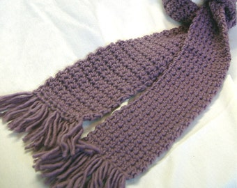 Womans Purple Wool Scarf Lavender 74x4 Inches Extra Long Vintage Looking Crochet knit Chunky Thick Yarn Spring Neckscarf Stylish Retro