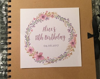 Personalised 18th 21st 30th 40th 50th 60th Birthday Scrapbook - Lilacs