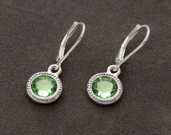August Birthstone Earrings, Silver Swarovski Crystal Birthstone Jewelry, Light Green Peridot Earrings, August Peridot Jewelry