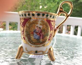 Vintage KPM Germany Handpainted Footed Teacup