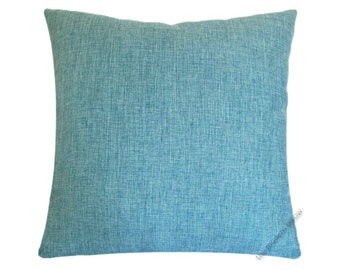 "Aqua Blue Cosmo Linen Decorative Throw Pillow Cover / Pillow Case / Cushion Cover / 18x18"" Square"