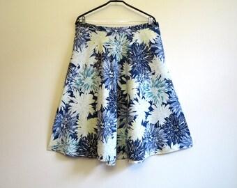 Blue Linen Blend Skirt Floral Print Skirt Midi Skirt Bell Skirt Elastic Waist Skirt Summer Skirt Extra Large Size Blue White Yellow Skirt