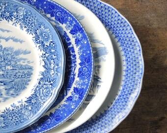 Dépareillées salade bleu et blanc assiettes lot de 4 assiettes à Dessert pour les mariages mariée déjeuner, remplacement Chine