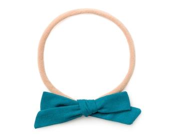 Mini Bow Headbands - Baby Hair Bows - Headbands Baby Girl - Handtied Schoolgirl - Small Baby Bow - Baby Headband Nylon - Minimalist Hair