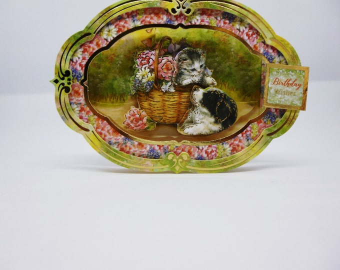 Basket Of Flowers Card, Puppy And kitten Card, 3 D Decoupage Card, Special Day Card, Mum Card, Sister Card, Card For Daughter