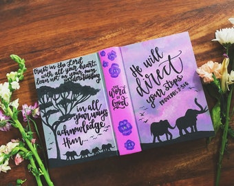 The Dawn Bible // Hand Painted Bible // ESV journaling Bible // Floral + Elephant + Tree + Sunset