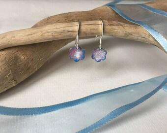 daisy enamelled dangle earrings, silver earrings, coloured drop earrings, enamelled earrings,