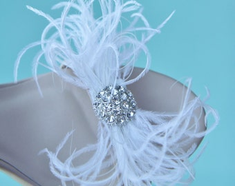 Whimsical White Ostrich Feathers Bows Shoe Clips Set of Two