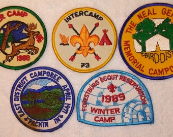 Vintage Boy Scouts 5 Badges Camps Camping 1970s 1980s Camporee Winter Camp Neal Gerber  LOT42