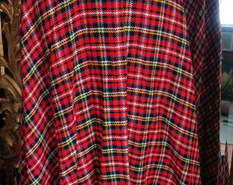Vintage 1960's Red Plaid Maxi Skirt with Wide Belt
