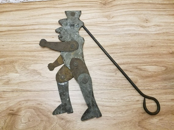 19th c Americana Wrought Iron Steel Jigger Toy Dancing Puppet w Handle